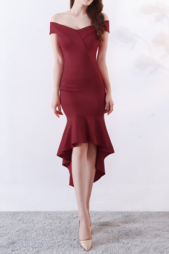 Off the Shoulder Maroon Satin Asymmetrical Midi Dress