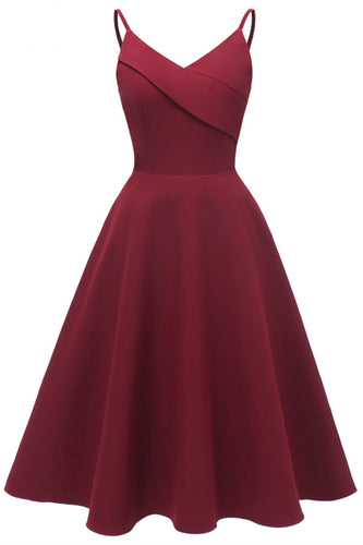 Spaghetti Straps Wine Cotton Midi Dress