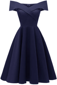 Off the Shoulder Navy Satin Midi Dress