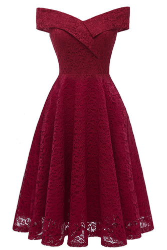 Off the Shoulder Burgundy Lace Midi Dress