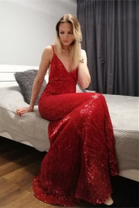 Sexy Red Sequin Maxi Slip Dress Mermaid