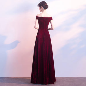 Off the Shoulder Burgundy Velvet Maxi Dress