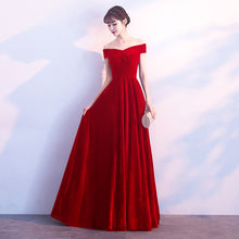 Load image into Gallery viewer, Off the Shoulder Burgundy Velvet Maxi Dress