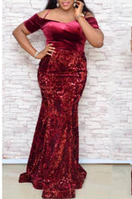 Load image into Gallery viewer, Off the Shoulder Burgundy Velvet Sequin Mermaid Maxi Dress Plus Size