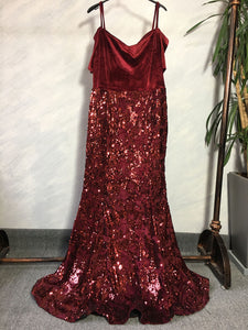 Off the Shoulder Burgundy Velvet Sequin Mermaid Maxi Dress Plus Size