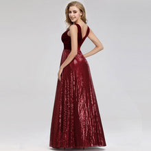 Load image into Gallery viewer, Burgundy Velvet Sequin Maxi Dress
