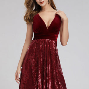 Burgundy Velvet Sequin Maxi Dress
