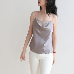 Cowl Neck Pink Lace Silk Top Women Camisole