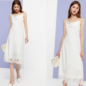 Cowl Neck White Lycra Lace Spaghetti Straps Midi Dress
