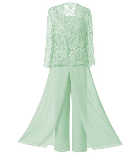 Mother of the Bride Dress Plus Size - 3 Pieces Sage Green Lace Chiffon Pants Suit Ankle-length