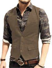 Load image into Gallery viewer, Made to Order Army Green Mens Vest Casual Business Waistcoat V-neck