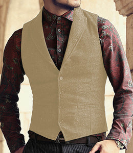 Made to Order Black Mens Vest Casual Business Waistcoat Lapel Collar