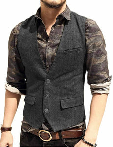 Made to Order Army Green Mens Vest Casual Business Waistcoat V-neck