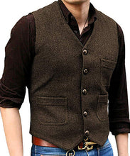 Load image into Gallery viewer, Men's Suit Formal V Neck Wool Herringbone Tweed Casual Waistcoat Formal Business Vest Groomman For Wedding Green/Black/Brown