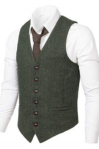 Made to Order Army Green Men's Suit Vest 3 Pockets Waistcoat