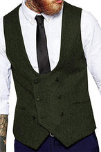 Load image into Gallery viewer, Made to Order Army Green U-Neck Double-Breasted Men's Suit Vest