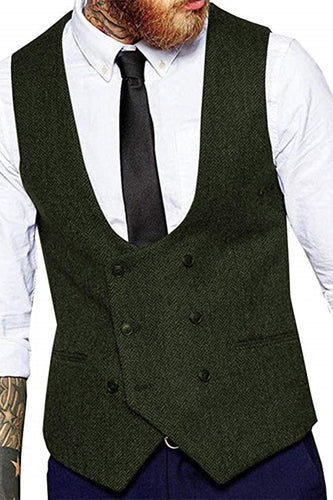 Made to Order Army Green U-Neck Double-Breasted Men's Suit Vest
