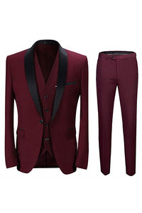 Made to Order Men's Suit 3 Pieces Burgundy Tuxedo Pants Vest Wedding Prom