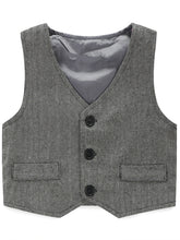 Load image into Gallery viewer, Boy's Vest Made-to-Order Light Grey Herringbone Baby Infant Toddler Boys Girl's Waistcoat V-neck 2 Pockets 3 Buttons