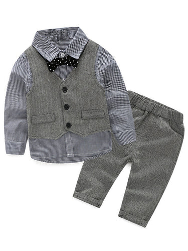 Boy's Vest Made-to-Order Light Grey Herringbone Baby Infant Toddler Boys Girl's Waistcoat V-neck 2 Pockets 3 Buttons