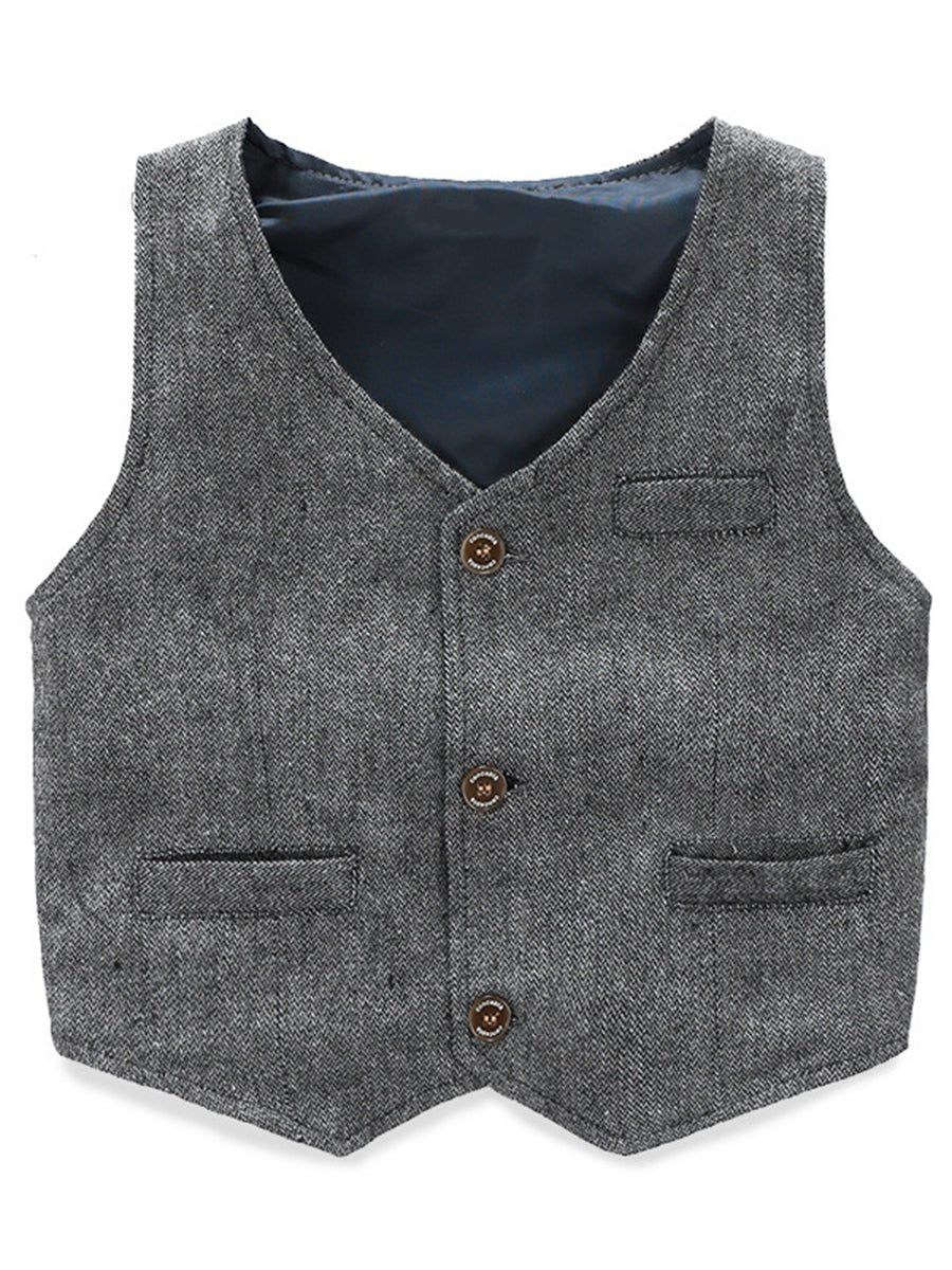 Boy's Vest Made-to-Order Light Grey Herringbone Baby Infant Toddler Boys Girls Waistcoat V-neck 3 Pockets 3 Buttons