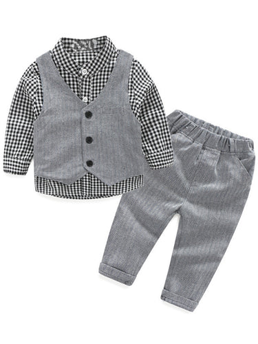 Boy's Vest Made-to-Order Light Grey Herringbone Baby Infant Toddler Boys Girls Waistcoat V-neck 1 Pocket 3 Buttons
