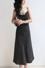 Load image into Gallery viewer, Dotted Cream Silk Slip Midi Dress Cowl Neck