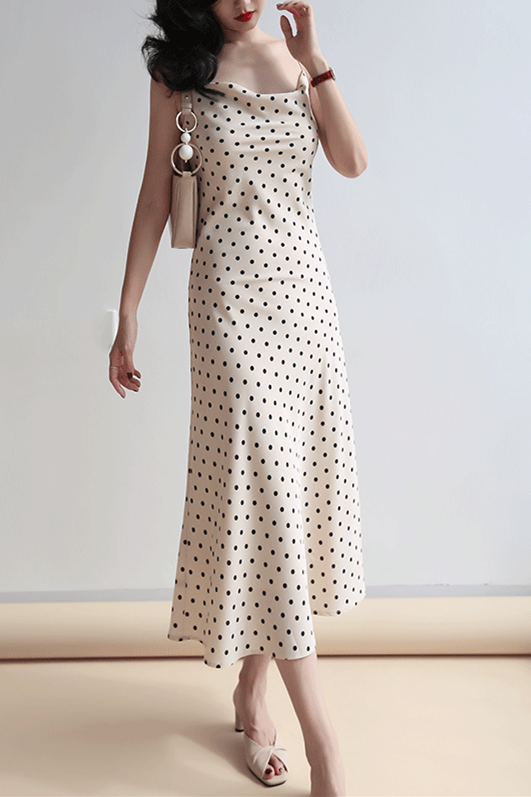 Dotted Cream Silk Slip Midi Dress Cowl Neck