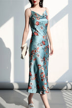 Load image into Gallery viewer, Floral Silk Slip Midi Dress Cowl Neck
