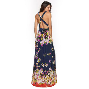 Floral Convertible Maxi Dress Ready to Wear Chiffon Wrap Dress