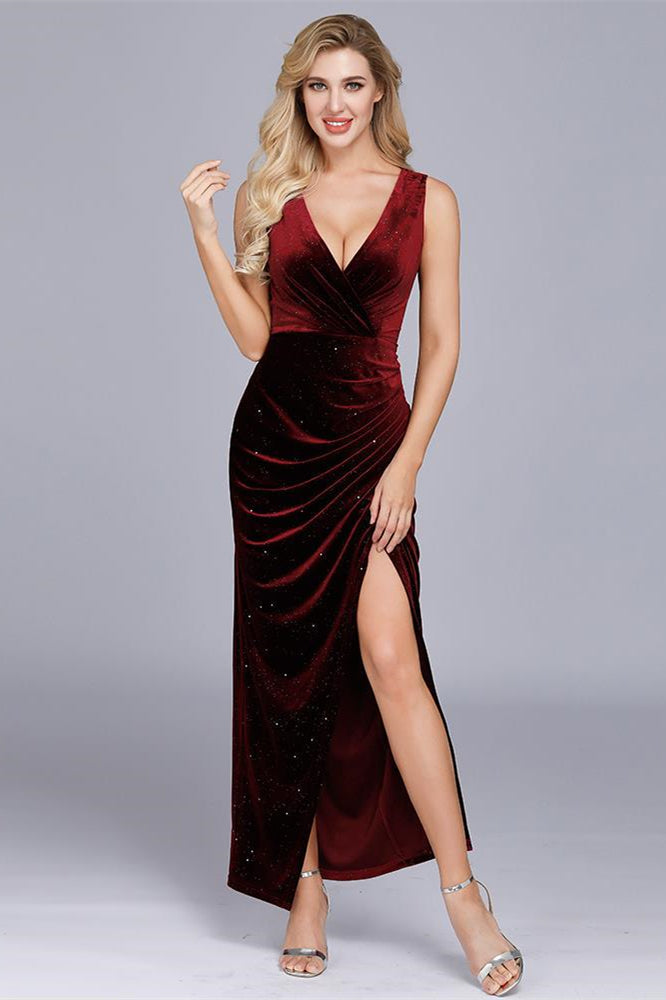 Burgundy Velvet Maxi Dress with Slit