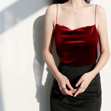 Load image into Gallery viewer, Cowl Neck Burgundy Velvet Top