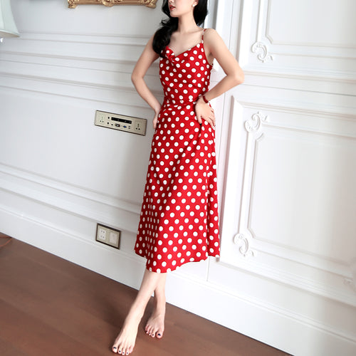Cowl Neck Dotted Red Polyester Slip Midi Dress