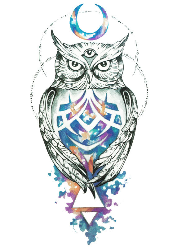 3-Eye Moon Owl - Tatouage Ephémère - Tattoo Forest