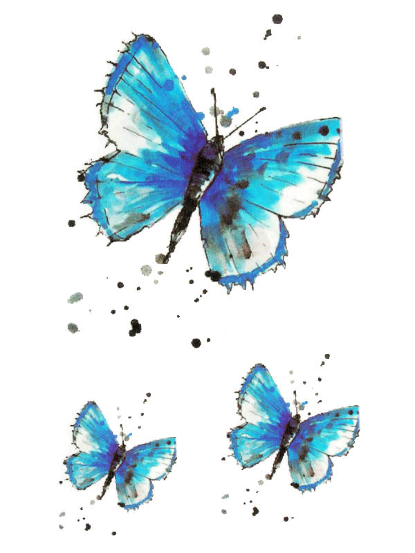 3 Blue Butterflies - Tatouage Ephémère - Tattoo Forest