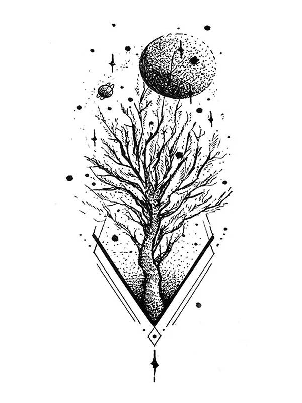 A Tree in Space - Tatouage Ephémère - Tattoo Forest