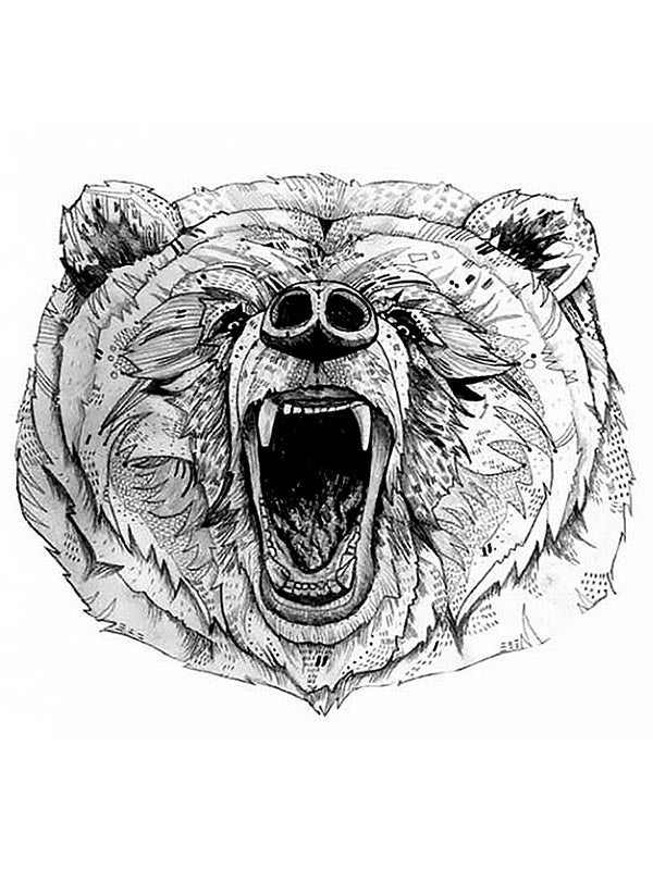 Angry Bear Tatouage Temporaire Ours Tatouage Ours Tattoo Forest