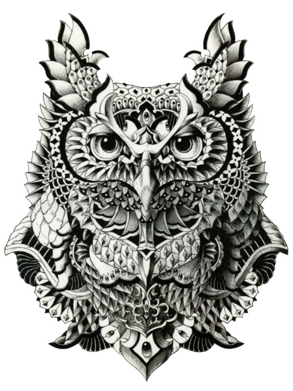 Armored Owl - Tatouage Ephémère - Tattoo Forest