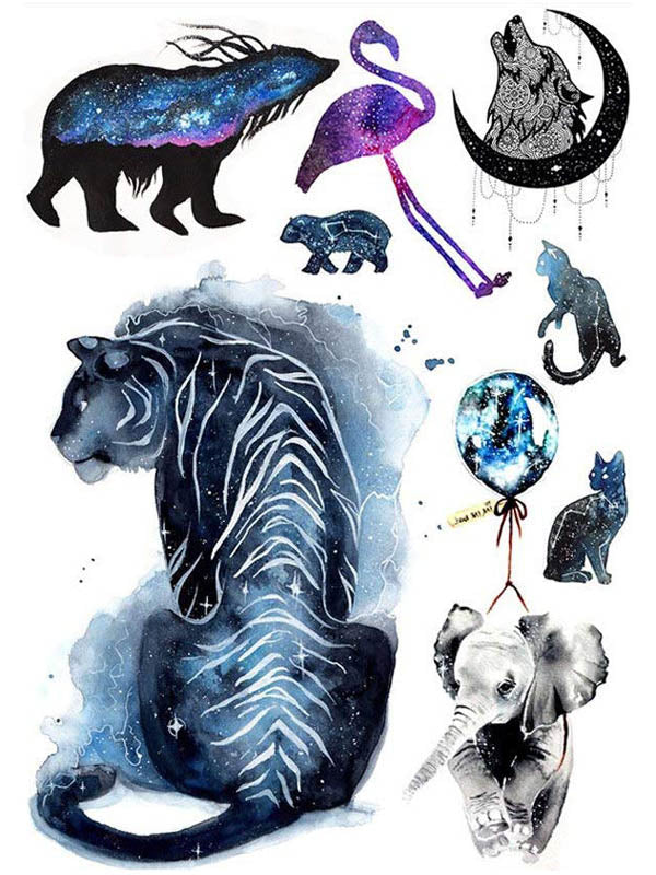 Bear, Flamingo, Moon Wolf, Cats, Elephant and Tiger - Tatouage Ephémère - Tattoo Forest