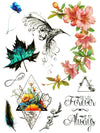 Bird, Flowers, Leaf, Feather and Infinite Love - Tatouage Ephémère - Tattoo Forest
