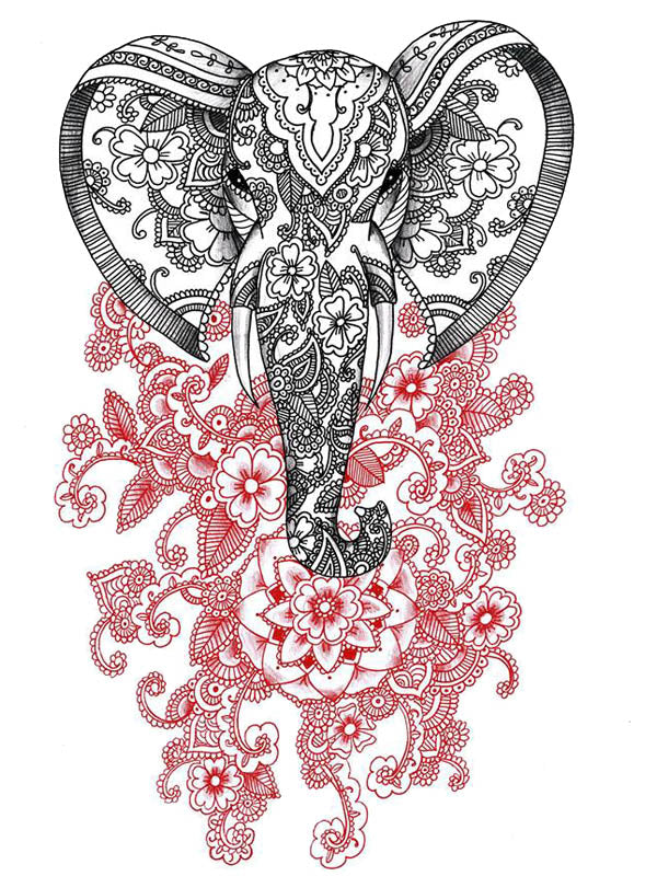 Mandala Black Elephant and Red Lotus Flower - Tatouage Ephémère - Tattoo Forest