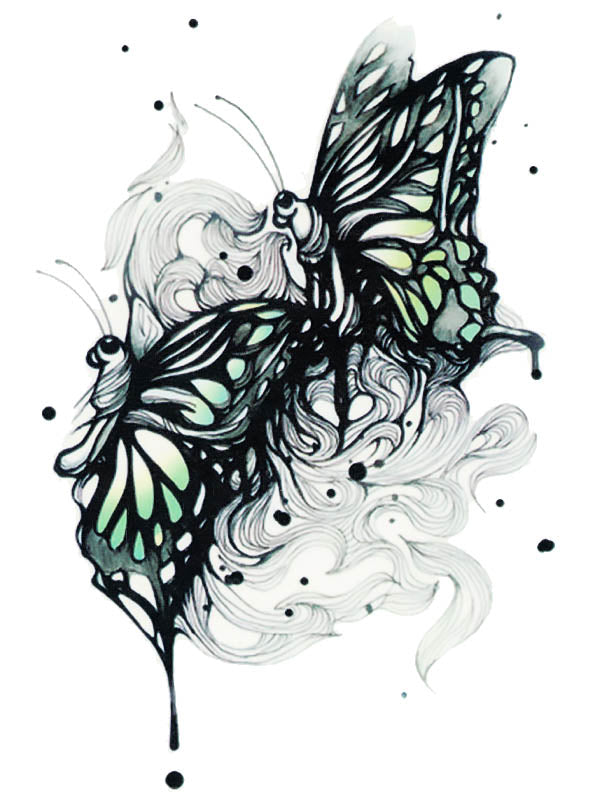 Black and Green Butterflies - Tatouage Ephémère - Tattoo Forest