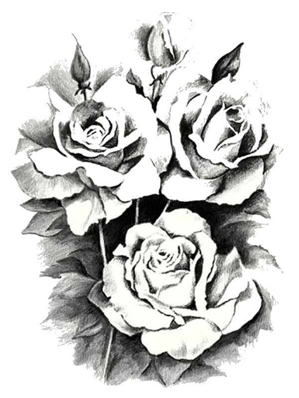 Black and White Roses - Tatouage Ephémère - Tattoo Forest