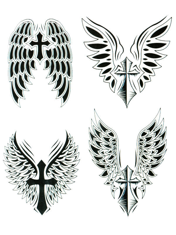 Black and White Winged Crosses - Tatouage Ephémère - Tattoo Forest