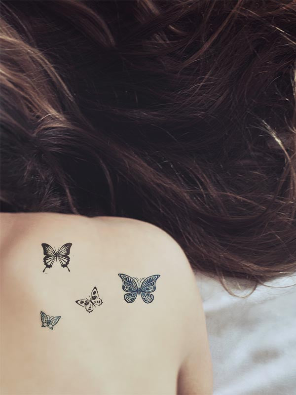 Blue & Black Butterflies - Tatouage Ephémère - Tattoo Forest