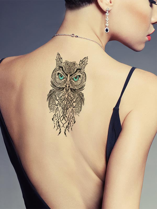 Blue Eyes Owl - Tatouage Ephémère - Tattoo Forest
