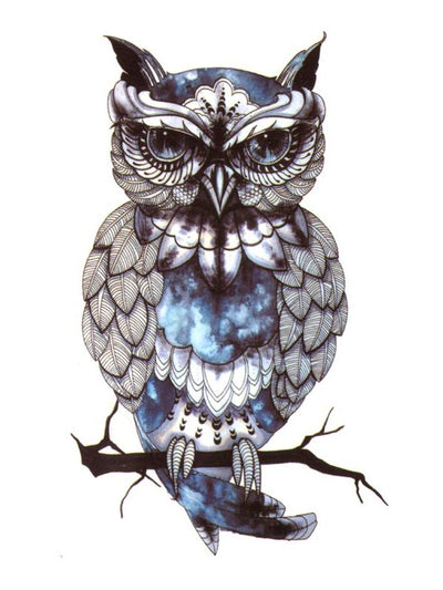 Blue Owl Lost in its Thoughts 1 - Tatouage Ephémère - Tattoo Forest