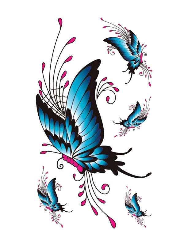 Blue and Pink Butterflies - Tatouage Ephémère - Tattoo Forest