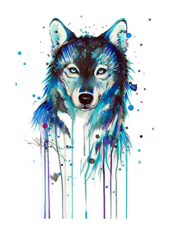 Blue Watercolor Wolf - Tatouage Ephémère - Tattoo Forest