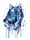 Blue Watercolor Wolf 1 - Tatouage Ephémère - Tattoo Forest